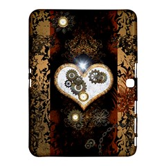 Steampunk, Awesome Heart With Clocks And Gears Samsung Galaxy Tab 4 (10.1 ) Hardshell Case