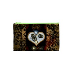 Steampunk, Awesome Heart With Clocks And Gears Cosmetic Bag (xs)