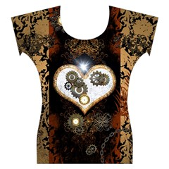Steampunk, Awesome Heart With Clocks And Gears Women s Cap Sleeve Top
