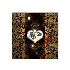 Steampunk, Awesome Heart With Clocks And Gears Satin Bandana Scarf
