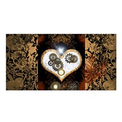 Steampunk, Awesome Heart With Clocks And Gears Satin Shawl