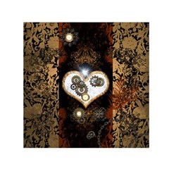 Steampunk, Awesome Heart With Clocks And Gears Small Satin Scarf (square)