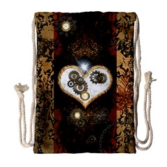 Steampunk, Awesome Heart With Clocks And Gears Drawstring Bag (Large)