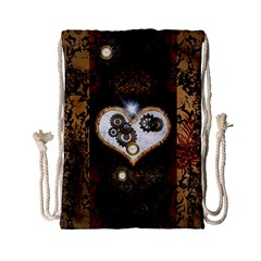 Steampunk, Awesome Heart With Clocks And Gears Drawstring Bag (Small)
