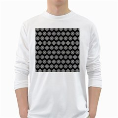 Abstract Knot Geometric Tile Pattern White Long Sleeve T Shirts