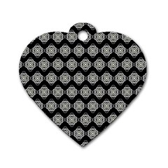 Abstract Knot Geometric Tile Pattern Dog Tag Heart (two Sides)