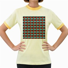 Colorful Floral Pattern Women s Fitted Ringer T Shirts