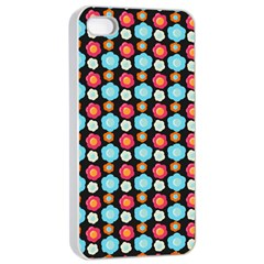 Colorful Floral Pattern Apple iPhone 4/4s Seamless Case (White)