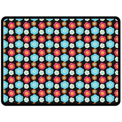Colorful Floral Pattern Double Sided Fleece Blanket (large)