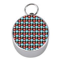Colorful Floral Pattern Mini Silver Compasses