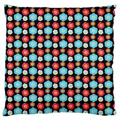 Colorful Floral Pattern Large Flano Cushion Cases (Two Sides)