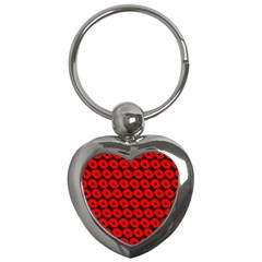 Charcoal And Red Peony Flower Pattern Key Chains (heart)