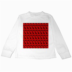 Charcoal And Red Peony Flower Pattern Kids Long Sleeve T Shirts