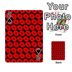 Charcoal And Red Peony Flower Pattern Playing Cards 54 Designs