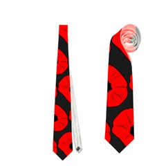 Charcoal And Red Peony Flower Pattern Neckties (One Side)