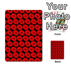 Charcoal And Red Peony Flower Pattern Multi Purpose Cards (rectangle)
