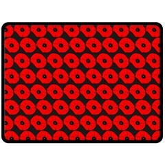 Charcoal And Red Peony Flower Pattern Fleece Blanket (Large)