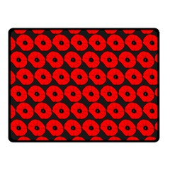 Charcoal And Red Peony Flower Pattern Fleece Blanket (Small)