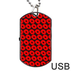 Charcoal And Red Peony Flower Pattern Dog Tag USB Flash (One Side)