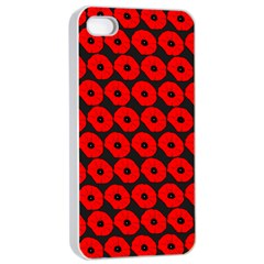 Charcoal And Red Peony Flower Pattern Apple Iphone 4/4s Seamless Case (white)