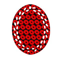 Charcoal And Red Peony Flower Pattern Ornament (Oval Filigree)