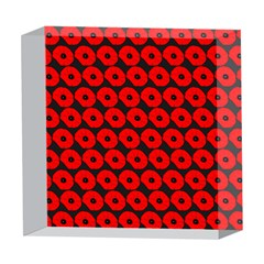 Charcoal And Red Peony Flower Pattern 5  x 5  Acrylic Photo Blocks