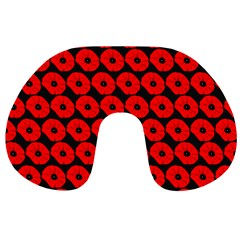 Charcoal And Red Peony Flower Pattern Travel Neck Pillows