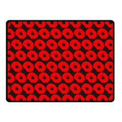 Charcoal And Red Peony Flower Pattern Double Sided Fleece Blanket (Small)