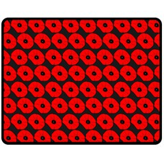 Charcoal And Red Peony Flower Pattern Double Sided Fleece Blanket (Medium)