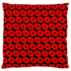 Charcoal And Red Peony Flower Pattern Large Flano Cushion Cases (Two Sides)