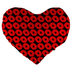 Charcoal And Red Peony Flower Pattern Large 19  Premium Flano Heart Shape Cushions
