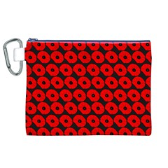 Charcoal And Red Peony Flower Pattern Canvas Cosmetic Bag (XL)