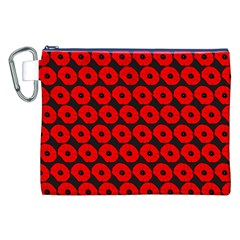 Charcoal And Red Peony Flower Pattern Canvas Cosmetic Bag (xxl)
