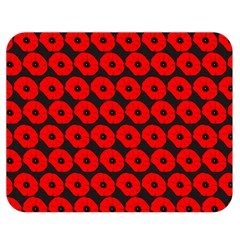 Charcoal And Red Peony Flower Pattern Double Sided Flano Blanket (Medium)