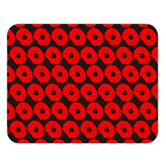 Charcoal And Red Peony Flower Pattern Double Sided Flano Blanket (Large)