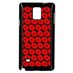 Charcoal And Red Peony Flower Pattern Samsung Galaxy Note 4 Case (Black)