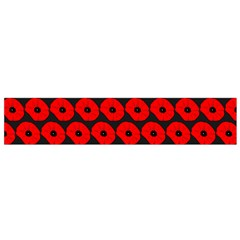 Charcoal And Red Peony Flower Pattern Flano Scarf (Small)