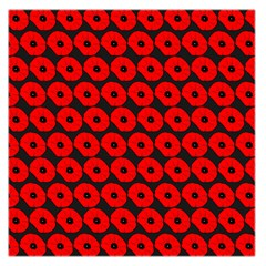 Charcoal And Red Peony Flower Pattern Large Satin Scarf (Square)
