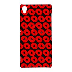 Charcoal And Red Peony Flower Pattern Sony Xperia Z3
