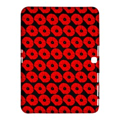 Charcoal And Red Peony Flower Pattern Samsung Galaxy Tab 4 (10.1 ) Hardshell Case