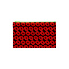 Charcoal And Red Peony Flower Pattern Cosmetic Bag (xs)