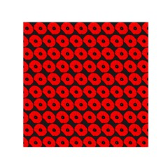 Charcoal And Red Peony Flower Pattern Small Satin Scarf (Square)