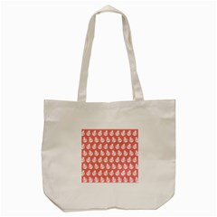 Coral And White Lady Bug Pattern Tote Bag (Cream)