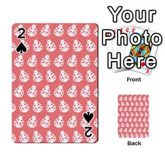 Coral And White Lady Bug Pattern Playing Cards 54 Designs