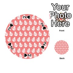 Coral And White Lady Bug Pattern Playing Cards 54 (Round)