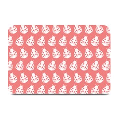 Coral And White Lady Bug Pattern Plate Mats