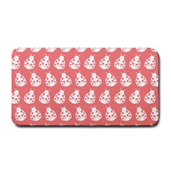 Coral And White Lady Bug Pattern Medium Bar Mats