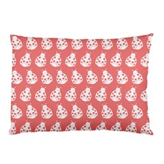 Coral And White Lady Bug Pattern Pillow Cases