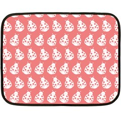 Coral And White Lady Bug Pattern Fleece Blanket (mini)