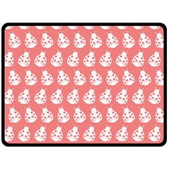 Coral And White Lady Bug Pattern Fleece Blanket (Large)